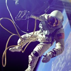 Ed White did the first American spacewalk in 1965. Obviously, he wore a spacesuit. Credit: NASA