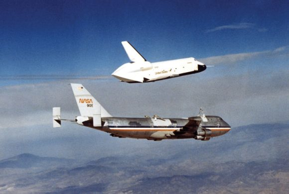 Space shuttle Enterprise soars during its first of five free flights. Credit: NASA