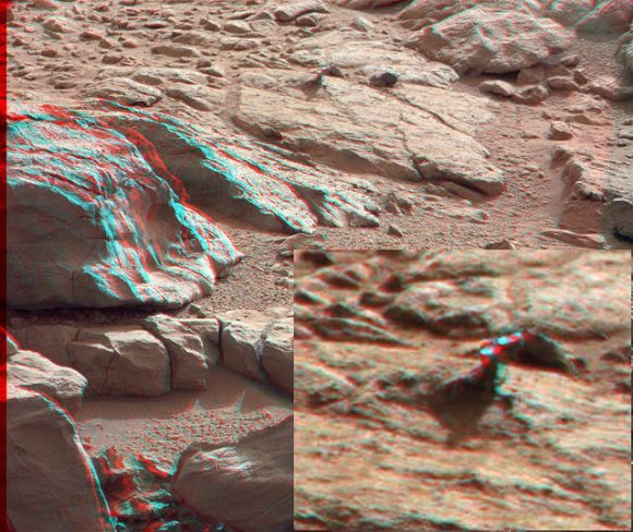 3-D anaglyph from the right and left Mastcam from Curiosity showing the metal-looking protuberance. Credit: NASA/JPL/Caltech/Malin Space Science Systems. Anaglyph by by 2di7 & titanio44 on Flickr.