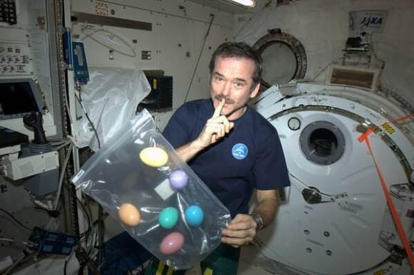 ISS Commander Chris Hadfield plans surprise Easter egg hunt for station crew today. Credit: NASA/Chris Hadfield