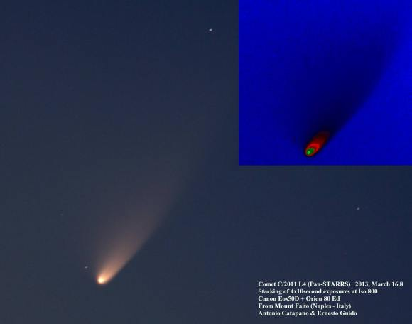 Comet C/2011 L4 (PANSTARRS) taken on March 16 from Mount Faito (Naples, Italy). Credit and copyright: Ernesto Guido & Antonio Catapano