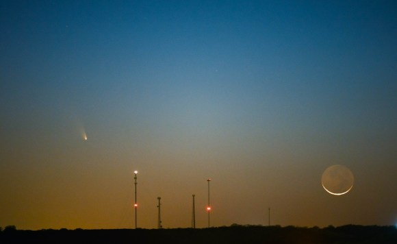 Comet PANSTARRS and the Waxing Crescent Moon as seen over Castroville, Texas. Credit and copyright: Adrian New.