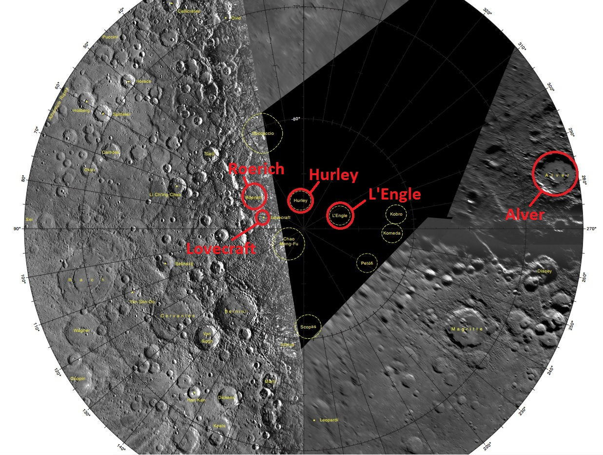 Five of the newly named craters in the south pole region of Mercury (circled in red). Note that the final portion of the USGS map, although recently released, has yet to be filled in! (Credit: USGS).
