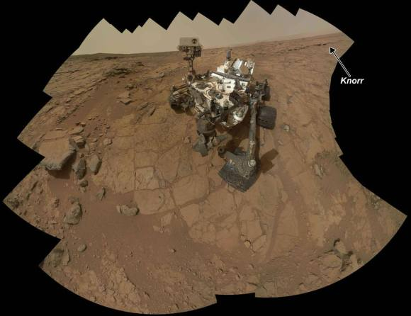 Rock Target 'Knorr' Near Curiosity. Scientists used Curiosity's Mast Camera (Mastcam) to study spectral characteristics of the rock target called Knorr in the Yellowknife Bay area and determined that it possessed veins of hydrated minerals, including hydrated calcium sulfate. This self-portrait is a mosaic of images taken by Curiosity's Mars Hand Lens Imager (MAHLI) camera during Sol 177 (Feb. 3, 2013). Credit: NASA/JPL-Caltech/MSSS
