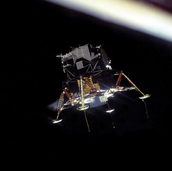 Apollo 11's Eagle spacecraft, as seen from fellow spaceship Columbia. Credit: NASA