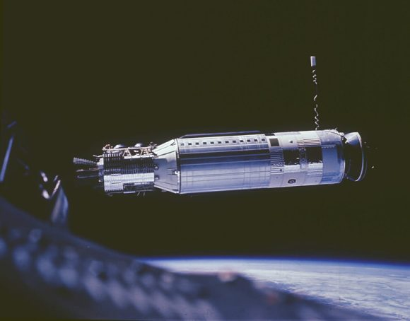 Gemini 8's Agena target before a stuck thruster on the spacecraft put the astronauts in a terrifying tumble. Credit: NASA