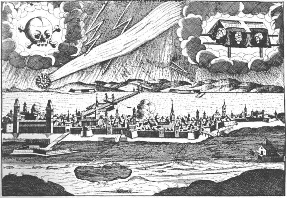 You get the idea... a 1687 leaflet depicting the havoc that a comet is sure to bring. (Wikimedia Commons image in the Public Domain).