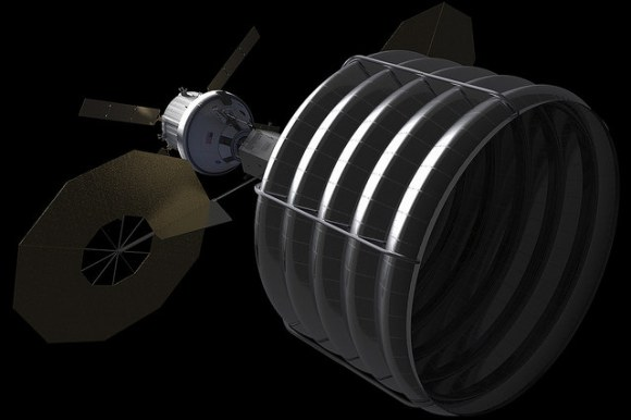 Concept of Spacecraft with Asteroid Capture Mechanism Deployed. Credit: NASA.