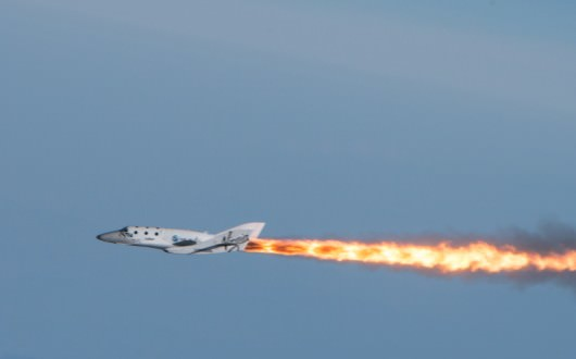 ShaceShipTwo from Virgin Galactic fires its rocket engines for the first time in history on April 29, 2013 to achieve supersonic speed. Credit: Virgin Galactic