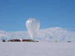 A long-duration balloon carrying CREAM prepares to launch from a location near McMurdo Station (NASA)