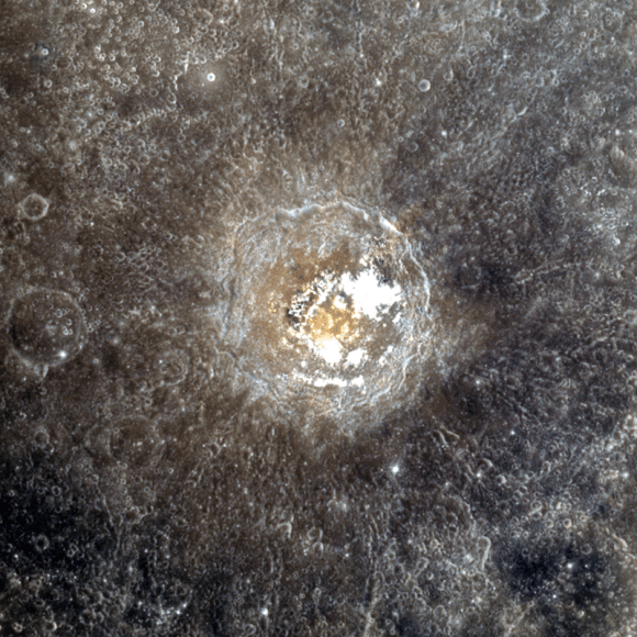 An 11-color MESSENGER targeted image of Mercury's Tyagaraja crater