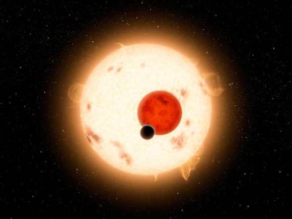 Kepler-16b is but one example of an uncanny world.  It orbits two suns. Credit: Discovery