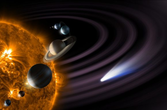 Artist's conception of the solar system, often used in the  Eyes on the Solar System 3D Simulator. Credit: NASA