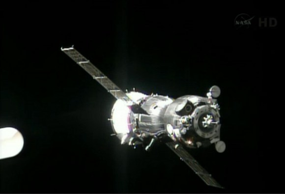 Screenshot from NASA TV of the Soyuz TMA-09M spacecraft arriving at the International Space Station.