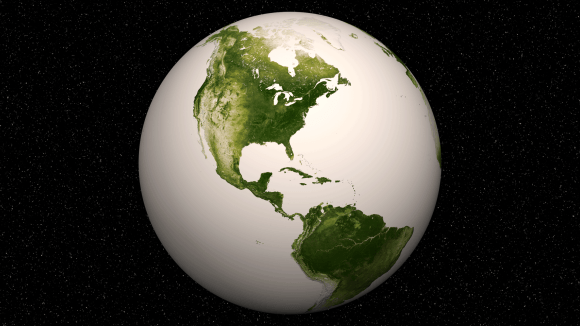 Western Hemisphere -Vegetation on Our Planet. The darkest green areas are the lushest in vegetation, while the pale colors are sparse in vegetation cover either due to snow, drought, rock, or urban areas. Suomi NPP Satellite data from April 2012 to April 2013 was used to generate these images. Credit: NASA/NOAA