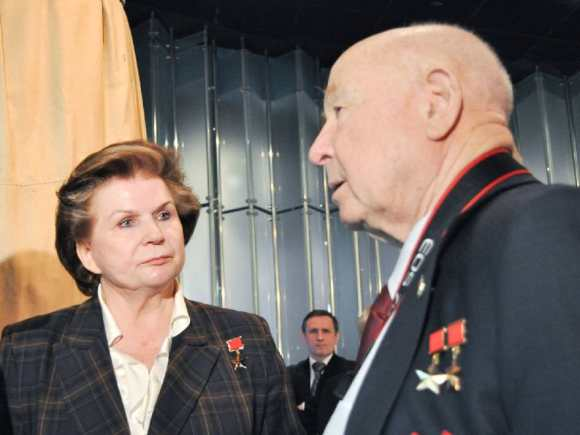 Tereshkova and Leonov at the Cosmonautics Museum in Moscow during a ceremony in 2011 celebrating the 50th anniversary of the launch of Yuri Gagarin. (NASA photo.)