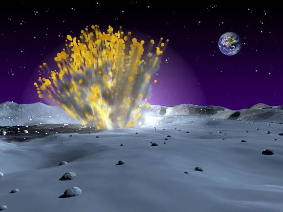 An artist's illustration of a meteoroid impact on the Moon. (Credit: NASA).