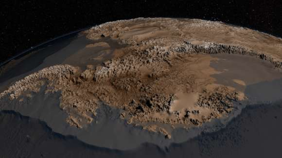 Bedmap2 data of Antarctica's bedrock. Verical elevation has been exaggerated by 17x. (NASA/GSFC)