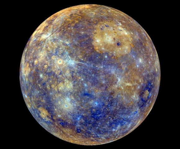 The different colors in this MESSENGER image of Mercury indicate the chemical, mineralogical, and physical differences between the rocks that make up the planet's surface.  Credit: NASA/Johns Hopkins University Applied Physics Laboratory/Carnegie Institution of Washington.