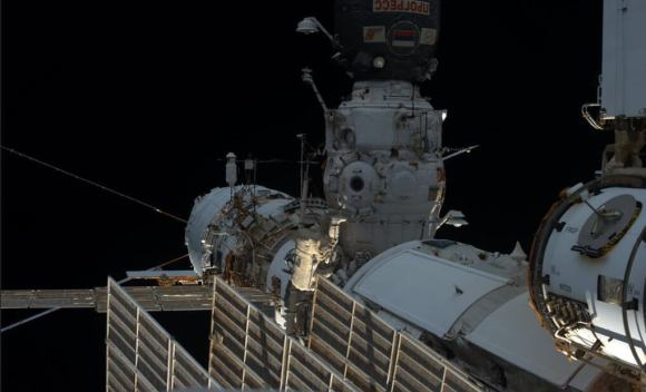 A view of Aleksandr Misurkin during the spacewalk to prepare the International Space Station for a new Russian lab. Image via astronaut Karen Nyberg/NASA.