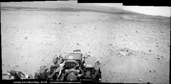 Curiosity On the Road to Mount Sharp and treacherous Sand Dunes - Sol 338 - July 19.  Curiosity captured this panoramic view of the path ahead to the base of Mount Sharp and potentially dangerous sand dunes after her most recent drive on July 19, 2013. She must safely cross over the dark dune field to climb and reach the lower sedimentary layers of Mount Sharp.   Credit: NASA/JPL-Caltech/Ken Kremer-(kenkremer.com)/Marco Di Lorenzo