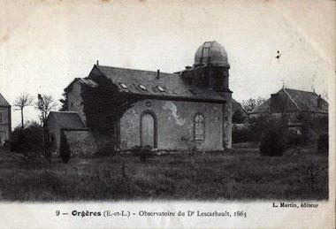 An 1863 photograph of Lescarbault's country house observatory. (Wikimedia Commons image in the public domain).
