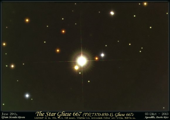 The nearby triple star system Gliese 667, taken on June 29, 2013. Credit and copyright: Efrain Morales, Jaicoa Observatory, Puerto Rico.