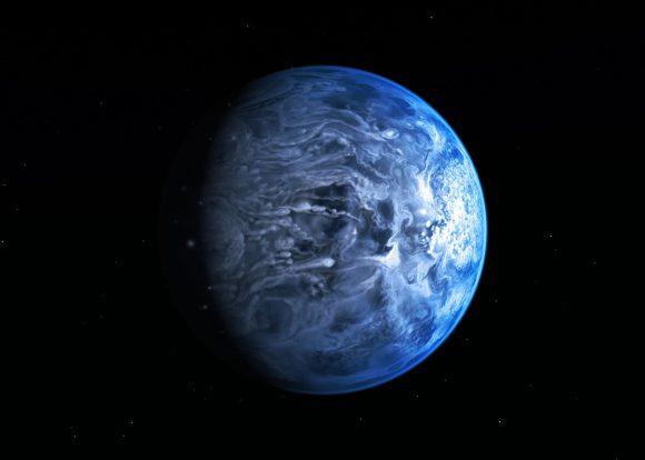 Artist's impression of the deep blue planet HD 189733b. Credit: NASA/ESA.