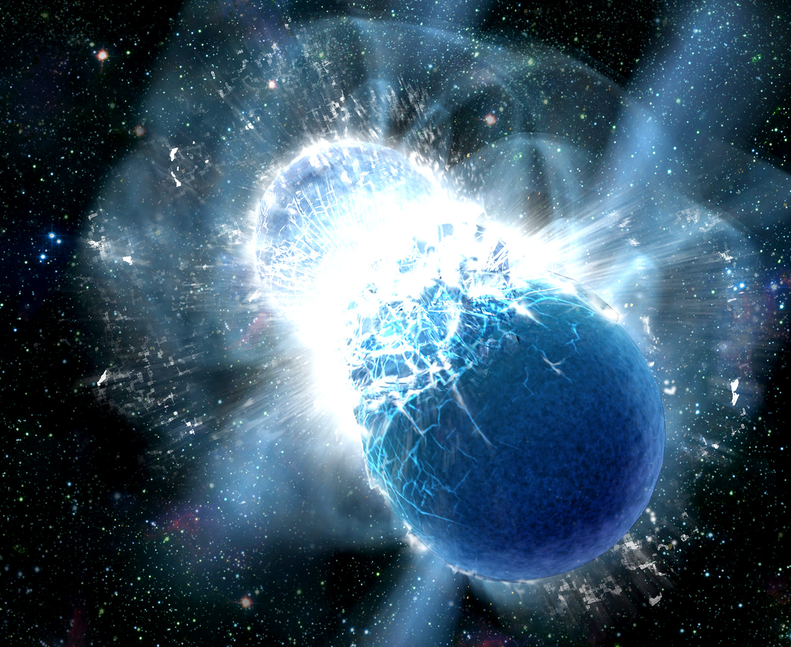 Collisions of neutron stars produce powerful gamma-ray bursts – and heavy elements like gold (Credit: Dana Berry, SkyWorks Digital, Inc.)