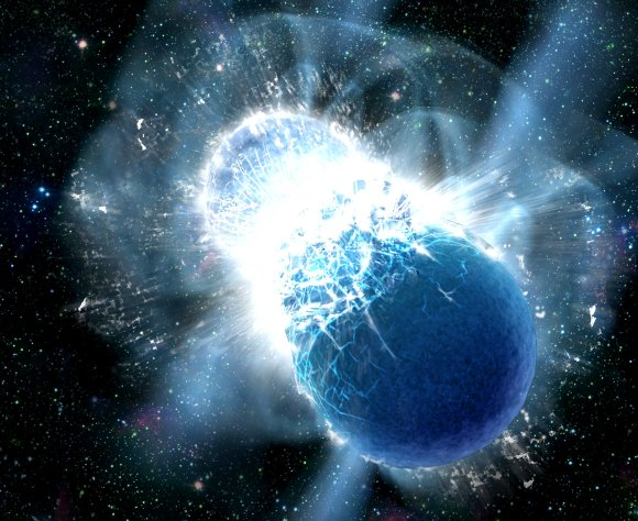 Collisions of neutron stars produce powerful gamma-ray bursts – and heavy elements like gold (Credit: Dana Berry, SkyWorks Digital, Inc.)