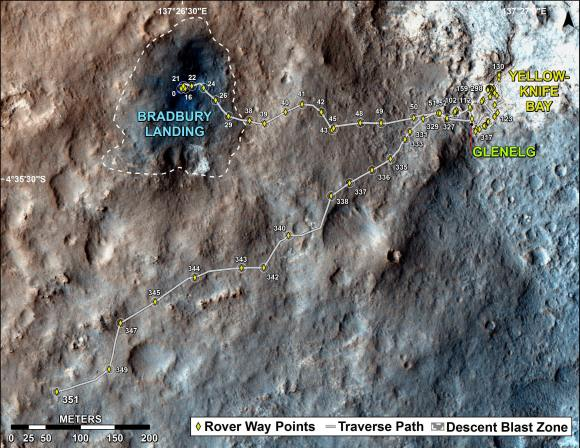 "The total distance driven by NASA's Mars rover Curiosity passed the one-mile mark a few days before the first anniversary of the rover's landing on Mars.  This map traces where Curiosity drove between landing at ""Bradbury Landing"" on Aug. 5, 2012, PDT, (Aug. 6, 2012 (Universal Time and EDT) and the position reached during the mission's 351st Martian day, or sol, (Aug. 1, 2013). The Sol 351 leg added 279 feet (85.1 meters) and brought the odometry since landing to about 1.05 miles (1,686 meters).  Credit: NASA/JPL-Caltech/Univ. of Arizona"