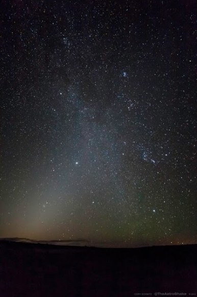 The clash of the zodiacal light and the plane of our galaxy. (Credit: Cory Schmitz, used with permission).