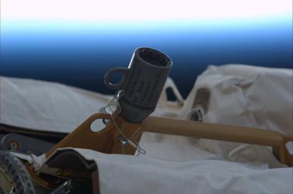 "An adapter recently installed on the ISS's Canadarm 2, with the message, ';Installed by your friendly Expedition 36 Crew."" Credit: NASA/ESA/Luca Parmitano."