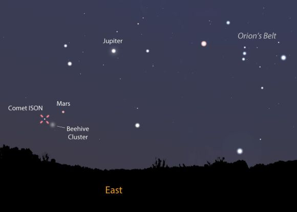This map shows the sky as you face east tomorrow morning  Sept. 3 around 5 a.m. local time just before the start of morning twilight. The comet is not far from Mars and the Beehive Cluster. Stellarium