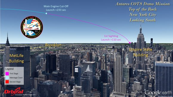 Top of the Rock - New York City Antares rocket and Cygnus cargo spacecraft approximate launch trajectory view as should be seen from atop Rockefeller Center, NYC, on Sept. 18, 2013 at 10:50 a.m. EDT - weather permitting - after blastoff from NASA Wallops, VA.  Credit: Orbital Sciences   See more Antares launch trajectory viewing graphics below