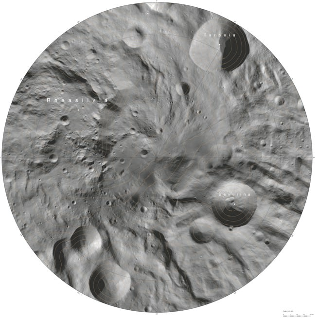 An atlas of the asteroid, Vesta, created from mosaics of 10 000 images from Dawn's framing camera (FC) instrument, taken during the Dawn Mission's Low Altitude Mapping Orbit (LAMO) an altitude of around 135 miles (210 kilometres). Credit: European Space Agency