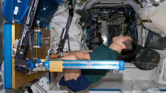 Japan Aerospace Exploration Agency astronaut Koichi Wakata exercises using the Advanced Resistive Exercise Device (ARE