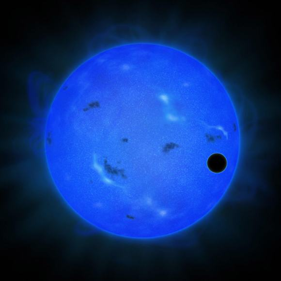 Artist's conception of GJ 1214 b passing across its host star, as viewed in blue light. Credit: NAOJ