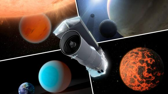 Artist's concept of NASA's Spitzer Space Telescope surrounded by examples of exoplanets it has looked at. Credit: NASA/JPL-Caltech