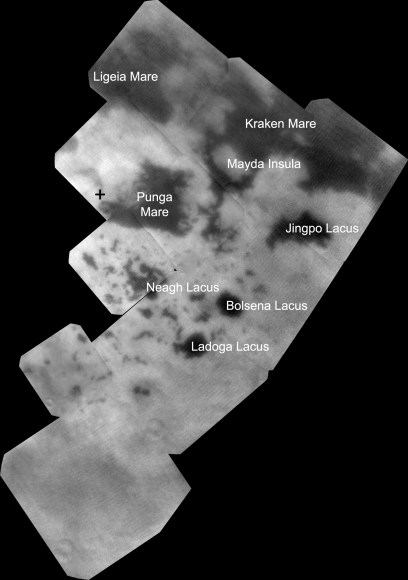 Infrared observations of Titan's northern lakes (NASA/JPL-Caltech/SSI)