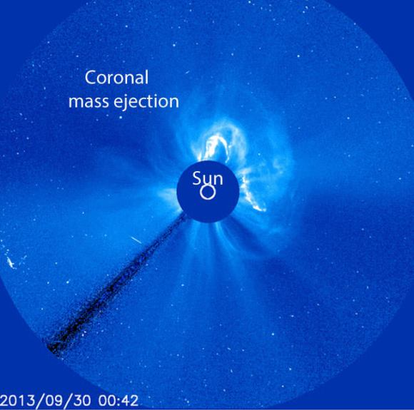 An erupting filament and sharp, southward turn in the interplanetary magnetic field (IMF) was responsible for last night's northern lights show. This image was taken with the Solar and Heliospheric Observatory sun-blocking coronagraph in progress on Sept. 30. Credit: NASA/ESA