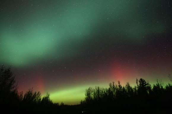 At around 10 p.m. last night, the northern sky was alive with colorful auroral patches and arcs. Details: 15mm lens at f/2.8, ISO 800 and 25 second exposure. Credit: Bob King