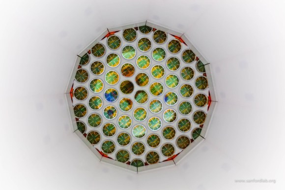 A view of the Large Underground Xenon (LUX) dark matter detector. Shown are photomultiplier tubes that can ferret out single photons of light. Signals from these photons told physicists that they had not yet found Weakly Interacting Massive Particles (WIMPs) Credit: Matthew Kapust / South Dakota Science and Technology Authority