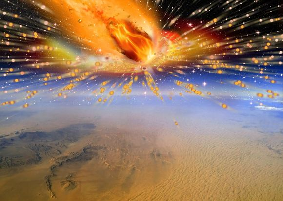 Artist's conception of a comet exploding in the Earth's atmosphere above Egypt. Credit: Terry Bakker