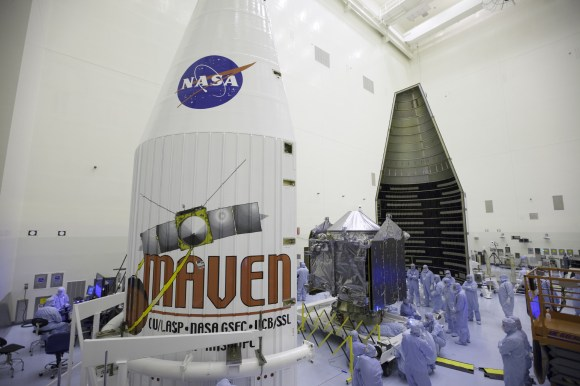 Inside the Payload Hazardous Servicing Facility at NASA's Kennedy Space Center in Florida, engineers and technicians prepare the MAVEN spacecraft for encapsulation inside its payload fairing.  Credit: NASA/Kim Shiflett