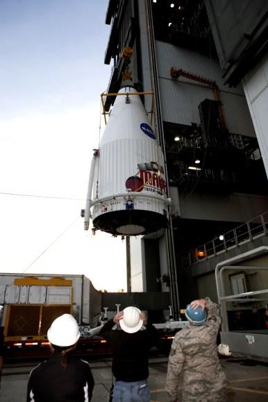 MAVEN Mated to Atlas. On  Nov. 8,2013, NASA's Mars Atmosphere and Volatile Evolution,