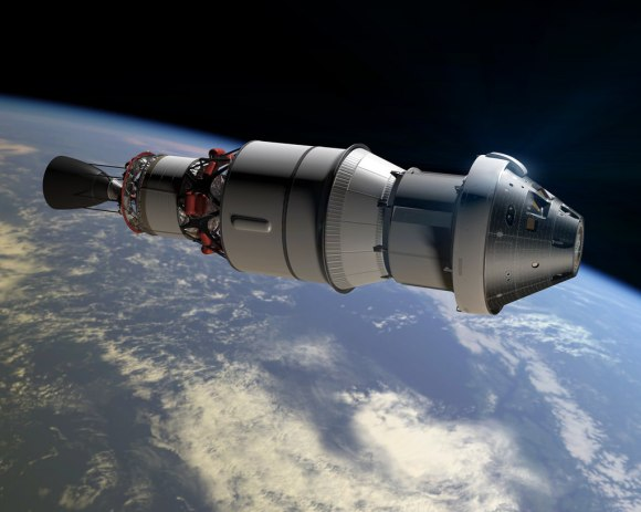 An artist concept shows Orion as it will appear in space for the Exploration Flight Test-1 attached to a Delta IV rockets Centaur second stage.   Credit: NASA