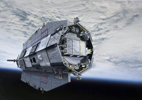 Artist rendition of the GOCE Satellite in orbit.  Credit:  ESA