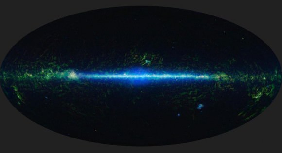 a mosaic of the images covering the entire sky as observed by the Wide-field Infrared Survey Explorer (WISE), part of its All-Sky Data Release.