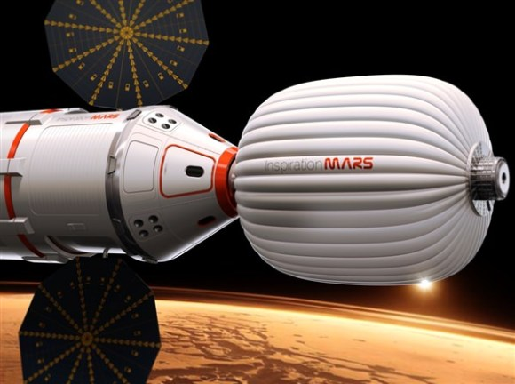 "An artist's concept of how the spacecraft for the Inspiration Mars Foundation's ""Mission for America"" might be configured. Credit: Inspiration Mars."
